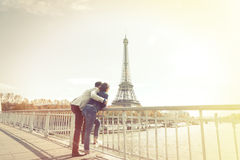 Multi-ethnic Couple Having Fun In Paris Near Eiffel Tower stock image