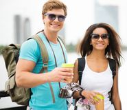 Multi-ethnic couple tourists in a city Royalty Free Stock Photo