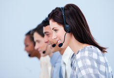 Multi-ethnic customer service representatives Stock Photo