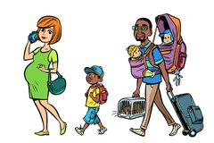 Multi ethnic family travelers, mom dad and kids Stock Image