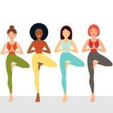 Multi ethnic female friends exercising yoga royalty free illustration