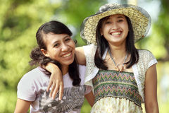 Multi ethnic friend smiling outdoor Stock Image