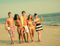Multi ethnic friends on a beach Royalty Free Stock Photography