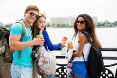 Multi-ethnic friends tourists Stock Photography