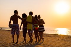 Multi ethnic friends walking on a beach. Group of multi ethnic friends walking on a beach against sunset stock image