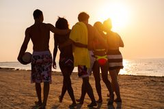 Multi ethnic friends walking on a beach Stock Photos