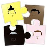Multi ethnic friendship puzzle vector illustration