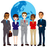 Multi Ethnic Global Businesspeople Team. Global multi ethnic team of successful businesspeople standing with confident look in front world earth globe background stock illustration