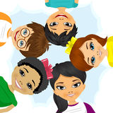 Multi ethnic group of children forming a circle Stock Photo