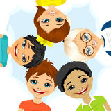 Multi ethnic group of children forming a circle Stock Images