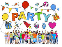 Multi-Ethnic Group of Children with Party Concepts Royalty Free Stock Photography