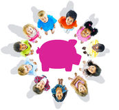 Multi-Ethnic Group of Children and Savings Concepts.  stock photo