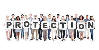 Multi-Ethnic Group Of Diverse People Holding Protection. Multi-Ethnic Group Of Diverse People Holding Letters That Form Protection Royalty Free Stock Images
