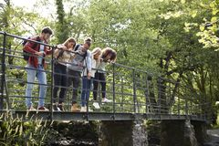 Multi ethnic group of five young adult friends standing on tiptoes looking down from a bridge during a hike royalty free stock photos