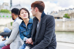 Multi-ethnic Group Of Friends Having Fun In Paris Along Seine Stock Photos