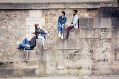 Multi-ethnic Group Of Friends Having Fun In Paris Along Seine Stock Image