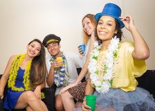 Friends are at a party. Celebrating the Brazilian Carnaval. Tour. Multi ethnic group of friends are making Carnaval party. Euphoria in Brazil. They are wearing Stock Photo
