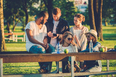 Multi-ethnic group of friends in a park.  Stock Photos