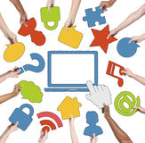 Multi-Ethnic Group of Hands and Internet Concept Stock Images