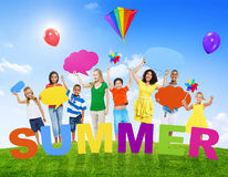 Multi-Ethnic Group of Mixed Age People and Summer Concepts.  Royalty Free Stock Photos