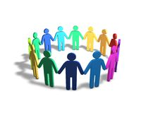Multi ethnic group of multi color people together holdig hands illustration. Royalty Free Stock Image