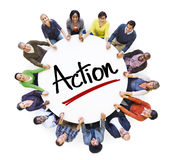 Multi-Ethnic Group of People and Action Concepts.  royalty free stock images
