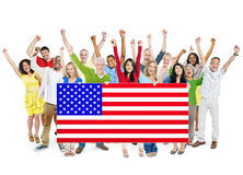 Multi-Ethnic Group Of People With American Flag Stock Photography