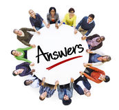 Multi-Ethnic Group of People and Answers Concepts Royalty Free Stock Images