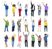 Multi-Ethnic Group of People Arms Raised Stock Photography