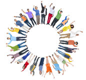 Multi-Ethnic Group of People Arms Raised and Copy Space.  Royalty Free Stock Photo