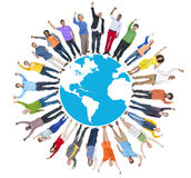 Multi-Ethnic Group of People Arms Raised and Earth.  Stock Photo
