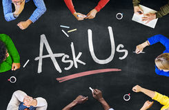 Multi-Ethnic Group of People and Ask Us Concept Royalty Free Stock Photo