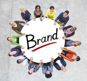 Multi-Ethnic Group of People and Branding Concepts. Isolated on White royalty free stock image