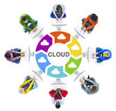 Multi-Ethnic Group of People and Cloud Computing Concepts Royalty Free Stock Images