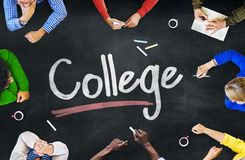 Multi-Ethnic Group of People and College Concepts Stock Photos