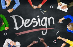 Multi-Ethnic Group of People and Design Concepts.  royalty free stock photography