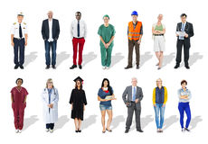 Multi-Ethnic Group of People and Diverse Jobs Concept Royalty Free Stock Images