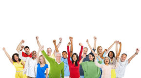 Multi-Ethnic Group Of People Expressing Positivity. And A Copy Space Above stock image