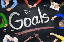 Multi-Ethnic Group of People and Goals Concept Stock Photography
