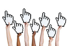 Multi-Ethnic Group of People Holding Cursor Stock Photo