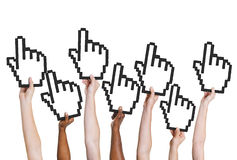 Multi-Ethnic Group of People Holding Cursor Royalty Free Stock Images
