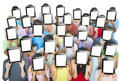 Multi-ethnic Group of People Holding Digital Tablets Stock Images