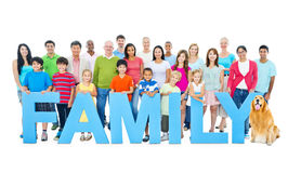 Multi-ethnic group people holding FAMILY Concept.  stock photo