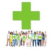 Multi-Ethnic Group Of People Holding Health Stock Photography
