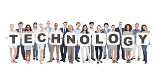 Multi-Ethnic Group Of People Holding Letters with Technology Concept Stock Photography
