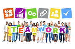 Multi-Ethnic Group Of People Holding Teamwork Placards Royalty Free Stock Photo