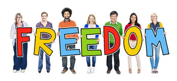 Multi-Ethnic Group of People Holding Text Freedom Royalty Free Stock Photography
