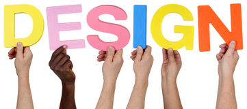 Multi ethnic group of people holding the word Design Stock Photo
