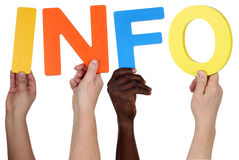Multi ethnic group of people holding the word info Stock Images