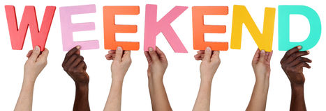 Multi ethnic group of people holding the word weekend Stock Images
